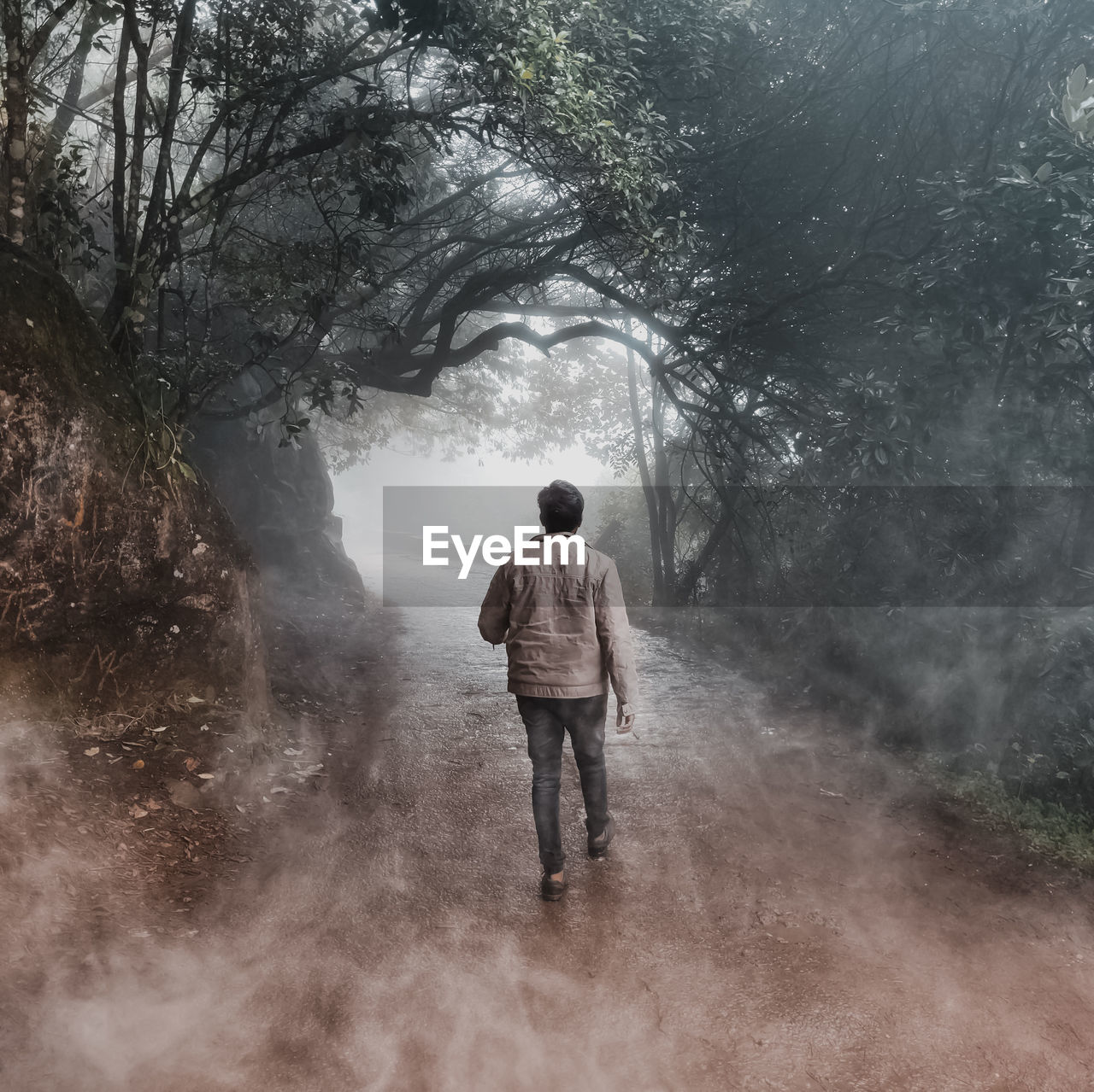 Full length rear view of man walking on road in foggy weather