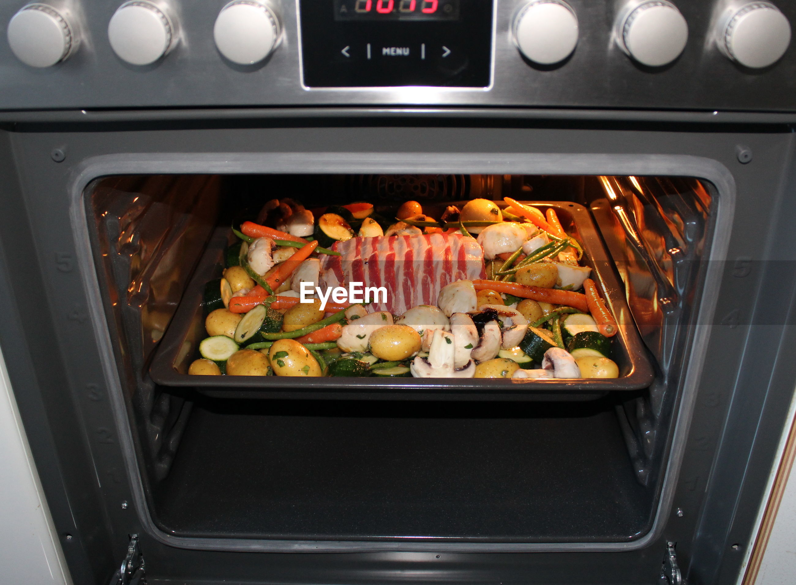 High angle view of food cooking in oven