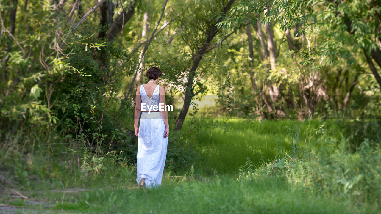 plant, grass, tree, one person, standing, nature, adult, land, women, hair, full length, fashion, young adult, day, hairstyle, solitude, clothing, casual clothing, long hair, outdoors, contemplation
