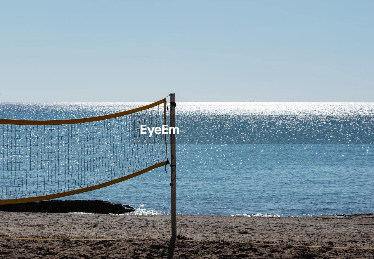 Beach volleyball field on the beach of the island kos greece