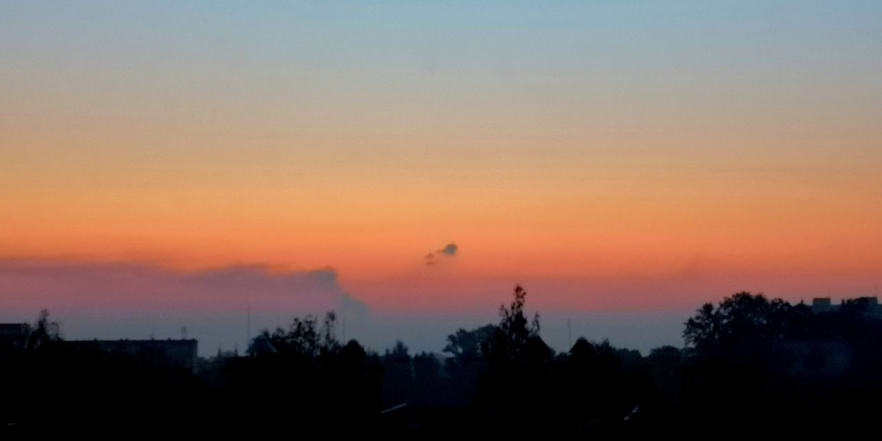 sky, sunset, silhouette, scenics - nature, beauty in nature, orange color, tree, tranquility, tranquil scene, plant, nature, no people, copy space, idyllic, bird, cloud - sky, environment, non-urban scene, outdoors, landscape, romantic sky