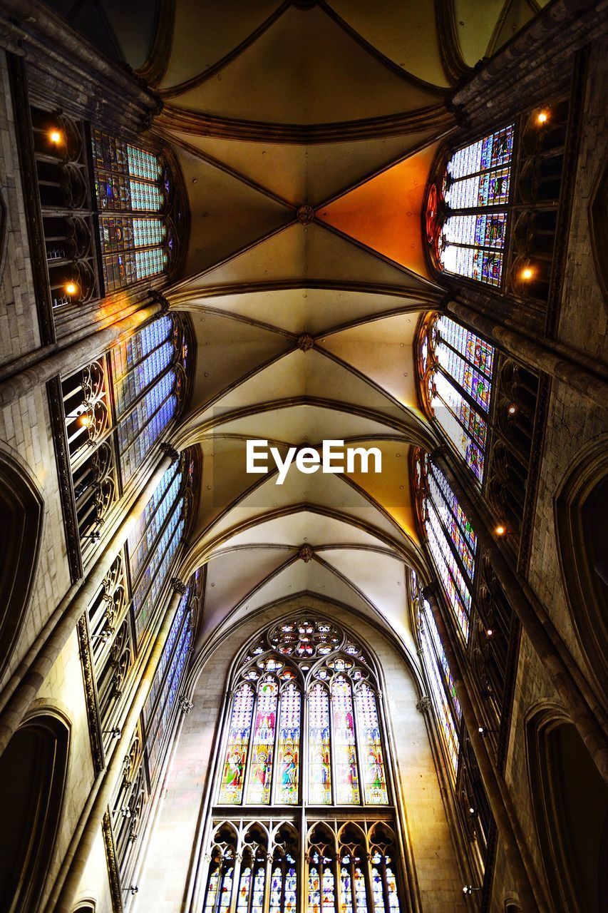 architecture, religion, multi colored, place of worship, indoors, ceiling, window, no people, close-up, day