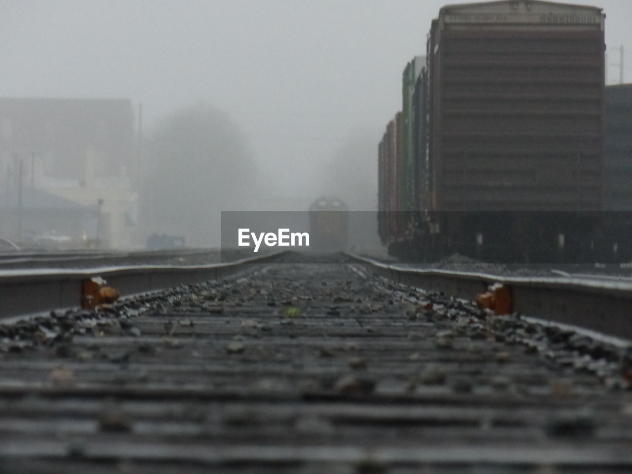 Freight trains on railroad tracks in foggy weather
