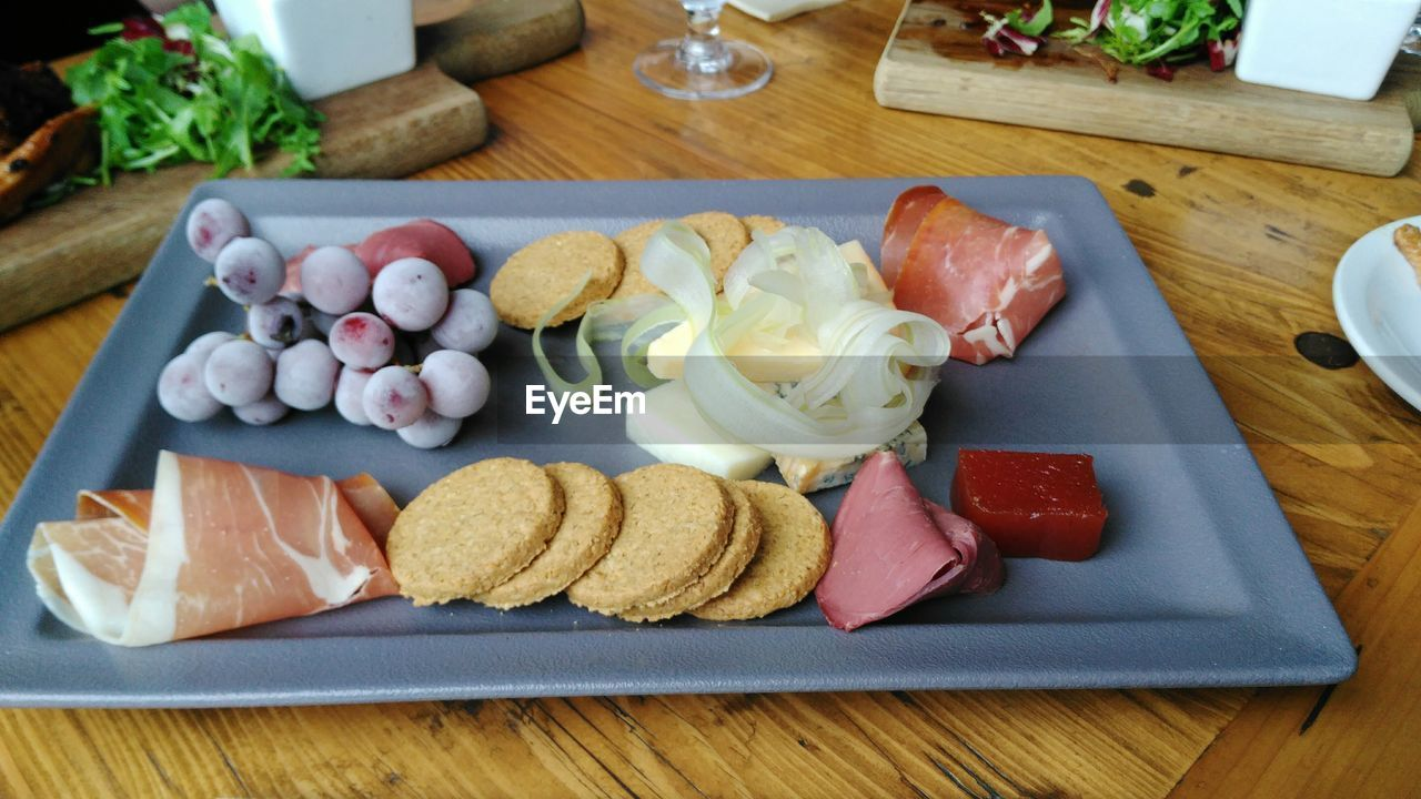 Close-up of food in tray on table
