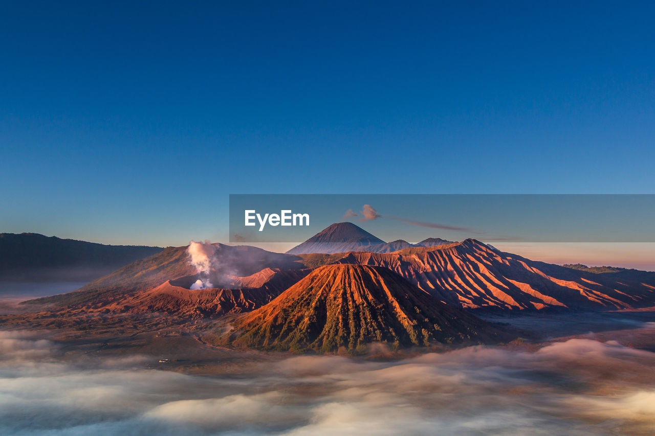 Panoramic view of volcanic mountain bromo
