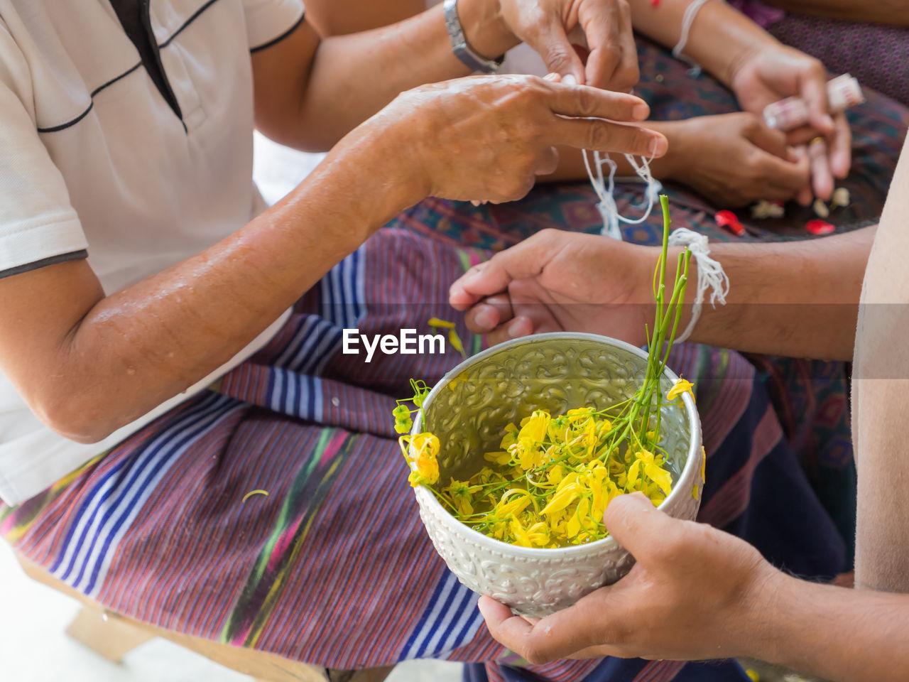 Indigenous community celebrating thread ceremony