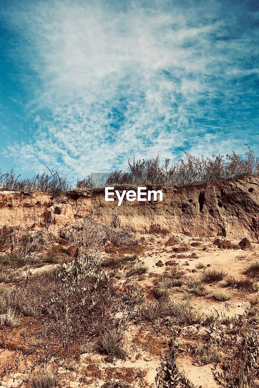 sky, scenics - nature, beauty in nature, tranquil scene, day, tranquility, environment, cloud - sky, no people, land, nature, landscape, plant, non-urban scene, field, outdoors, grass, blue, sunlight, rock, arid climate, climate