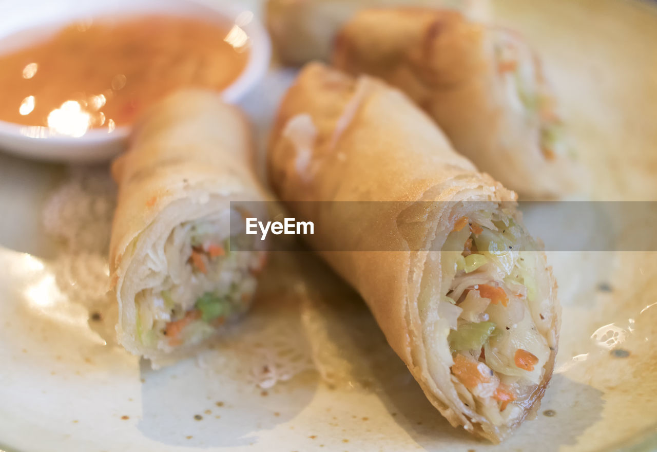 Close-Up Of Spring Rolls With Sauce In Plate