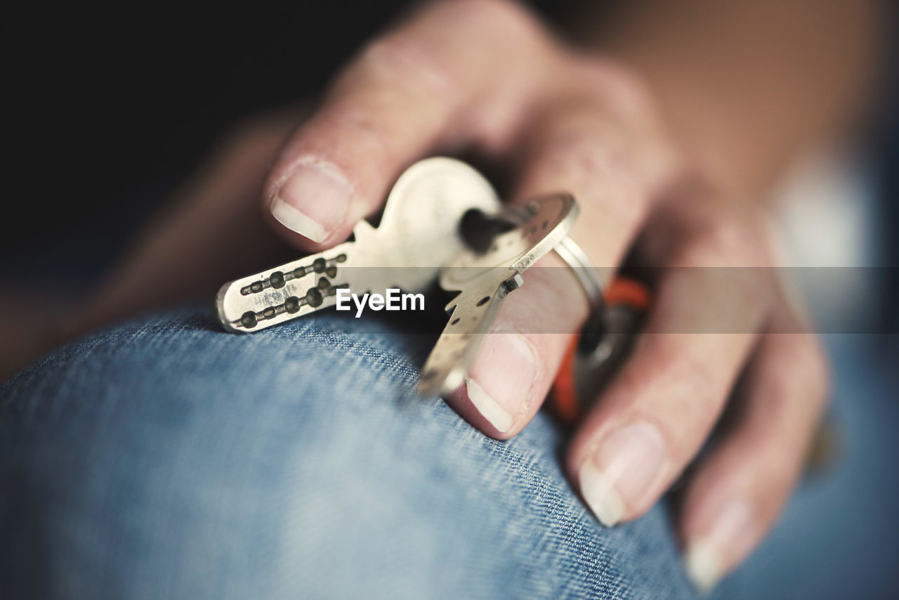 Cropped Hand Holding Keys