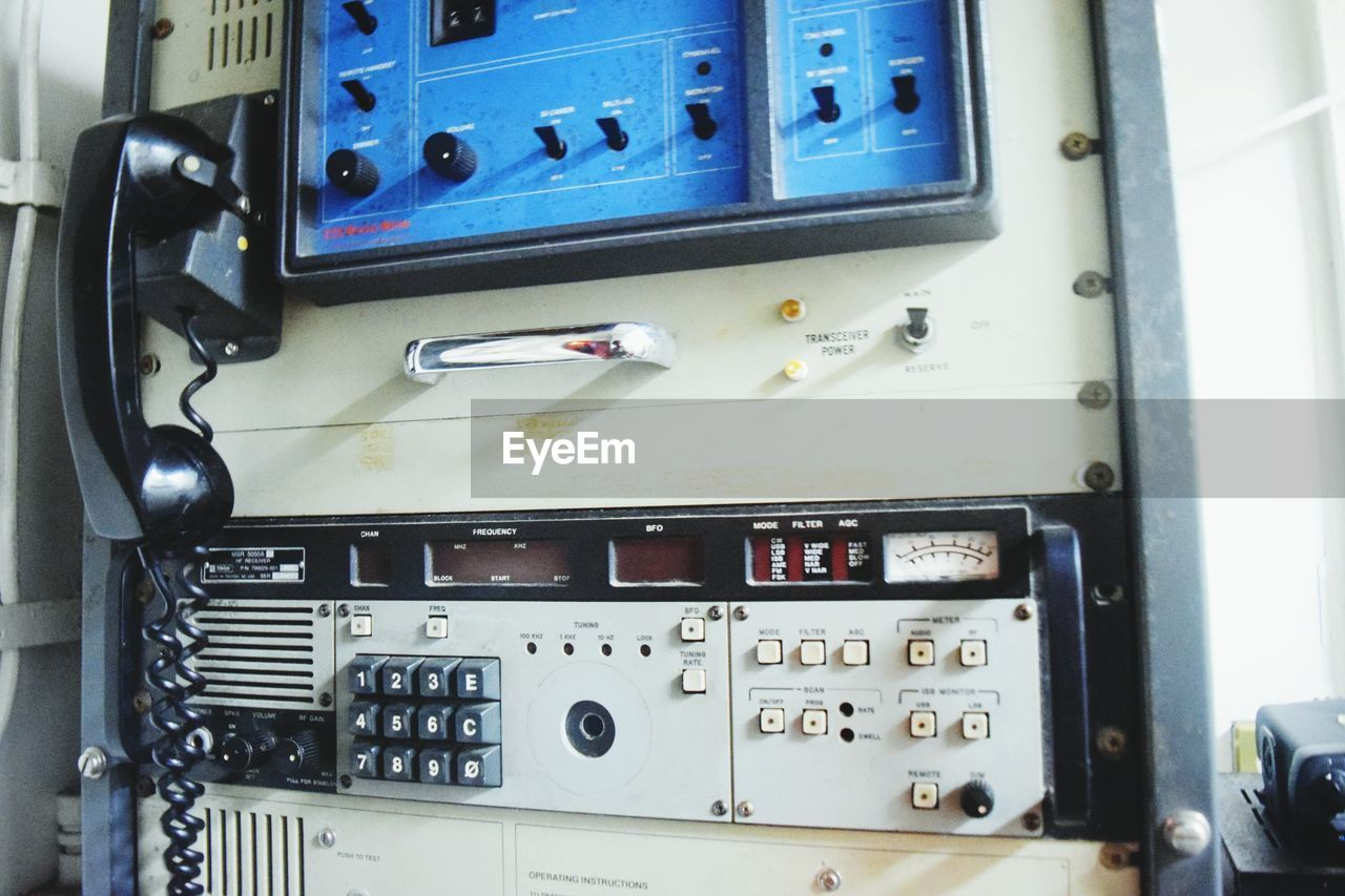control panel, no people, day, close-up, indoors, fire engine, technology, gauge