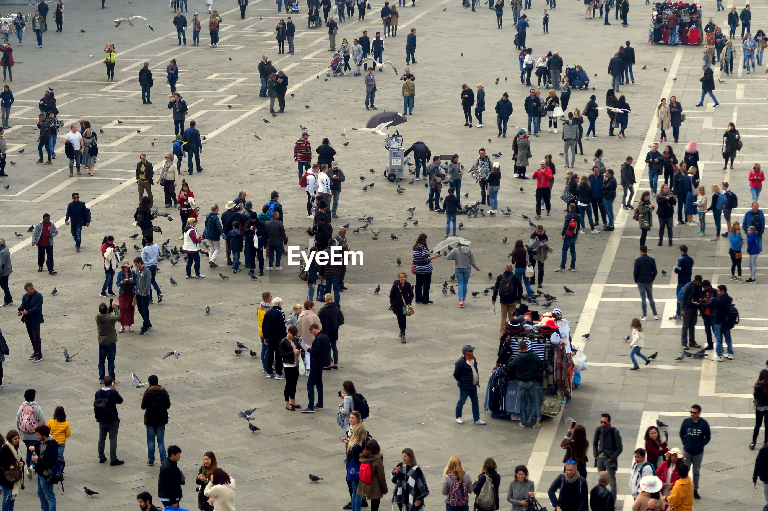 High angle view of crowd on square