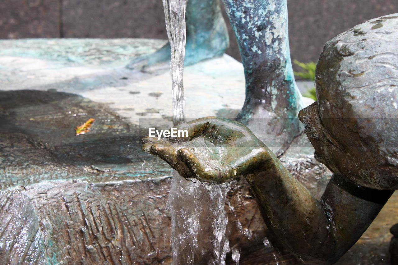 CLOSE-UP OF WATER FLOWING FROM FAUCET
