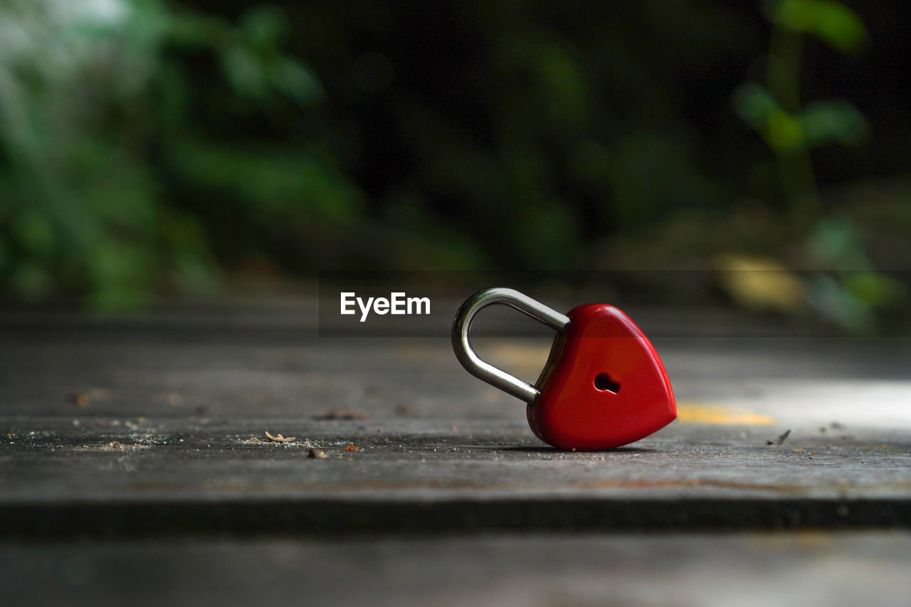 selective focus, red, no people, day, close-up, metal, still life, single object, nature, lock, outdoors, security, heart shape, safety, shape, protection, wood - material, key, land, representation, surface level, silver colored