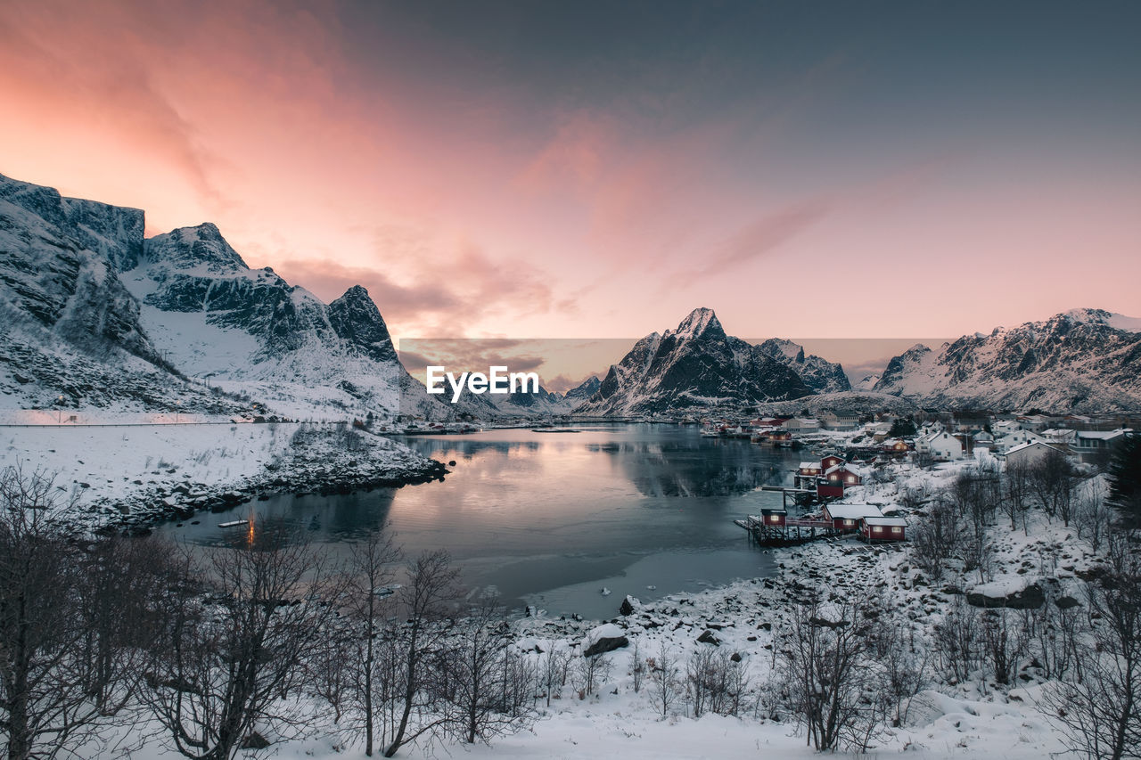 beauty in nature, winter, water, cold temperature, sky, scenics - nature, tranquil scene, sunset, tranquility, snow, reflection, lake, mountain, cloud - sky, mountain range, nature, non-urban scene, idyllic, no people, snowcapped mountain, outdoors