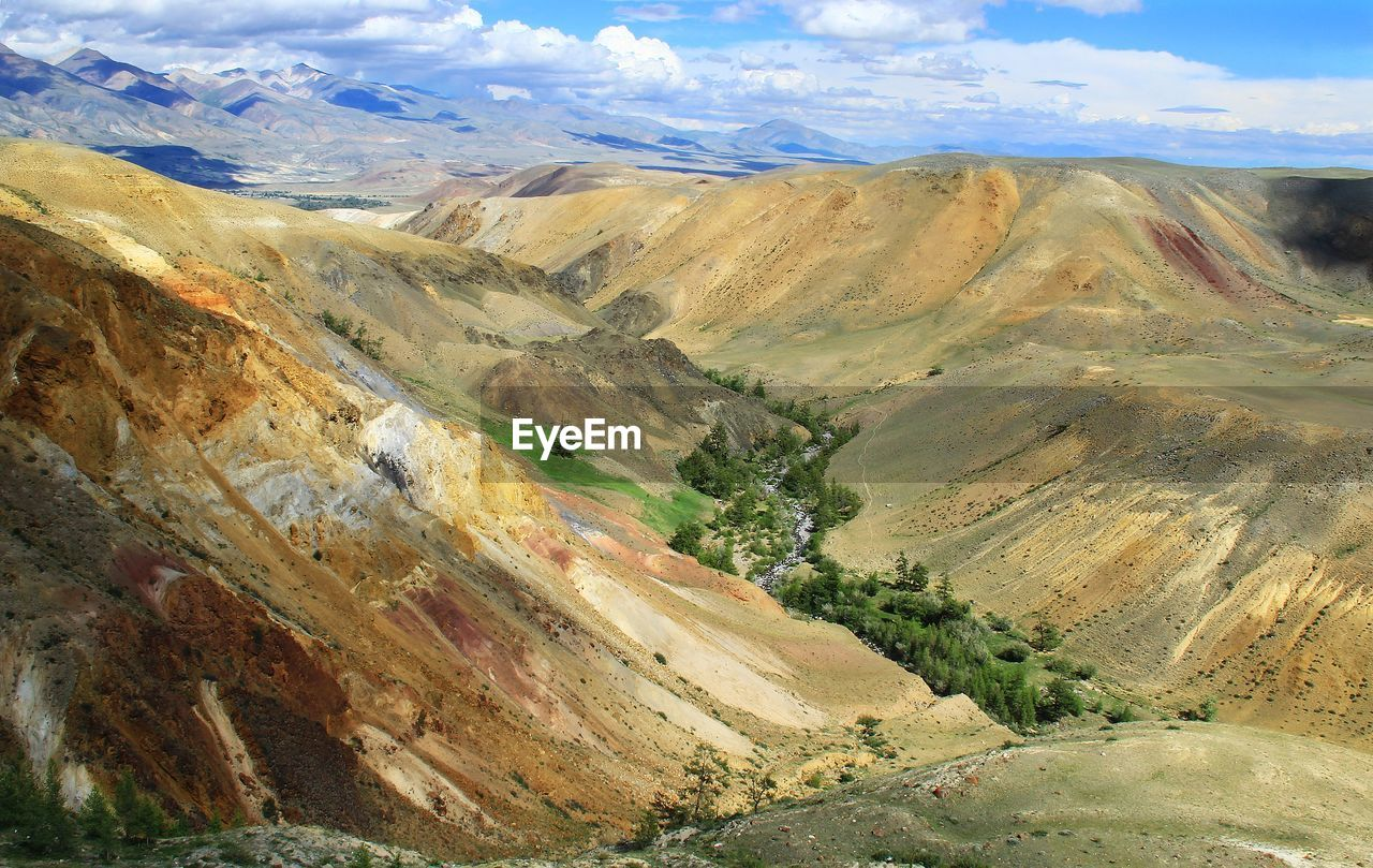 Multicolored mountain valley with a river on the background of ridges and sky with clouds in summer