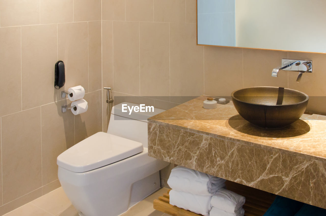 Interior of modern bathroom