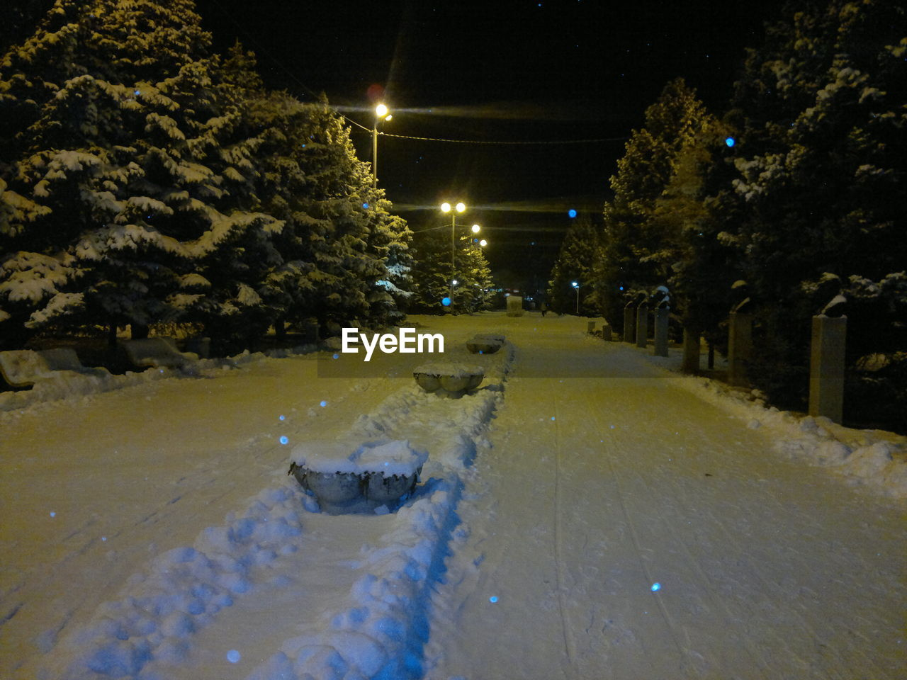 night, winter, snow, illuminated, cold temperature, road, no people, nature, outdoors