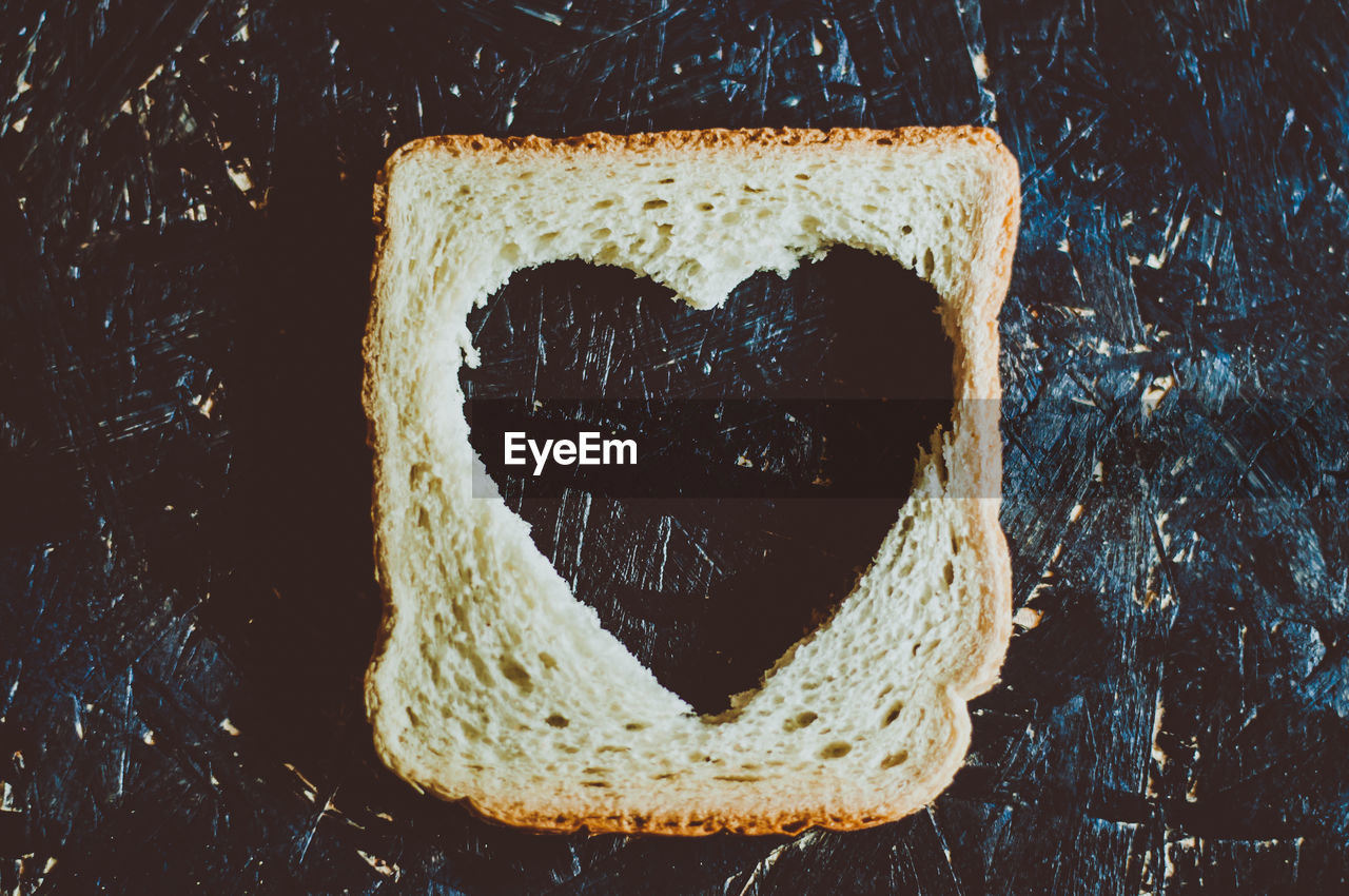 Close-up of heart shape in bread