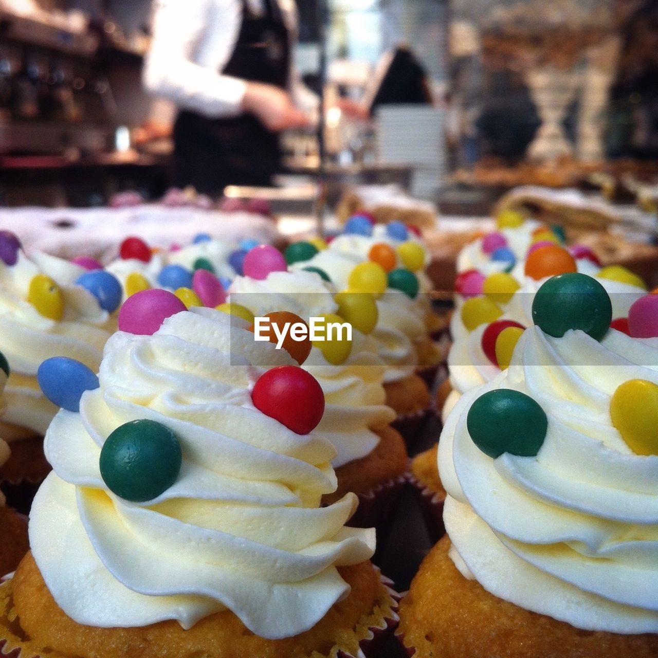 Extreme close up of muffins with cream