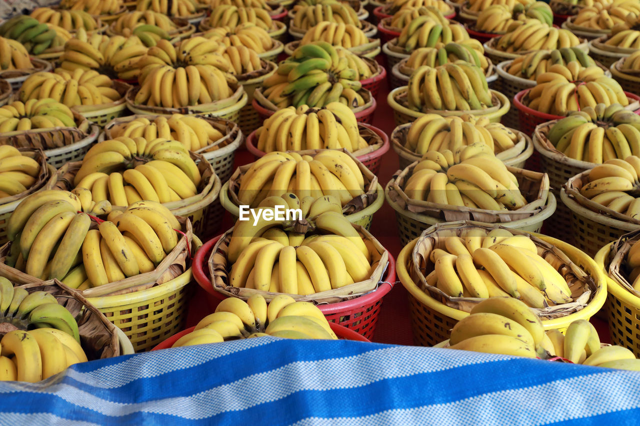food and drink, food, freshness, fruit, market, healthy eating, for sale, retail, large group of objects, wellbeing, still life, banana, no people, market stall, yellow, choice, high angle view, abundance, variation, close-up, retail display