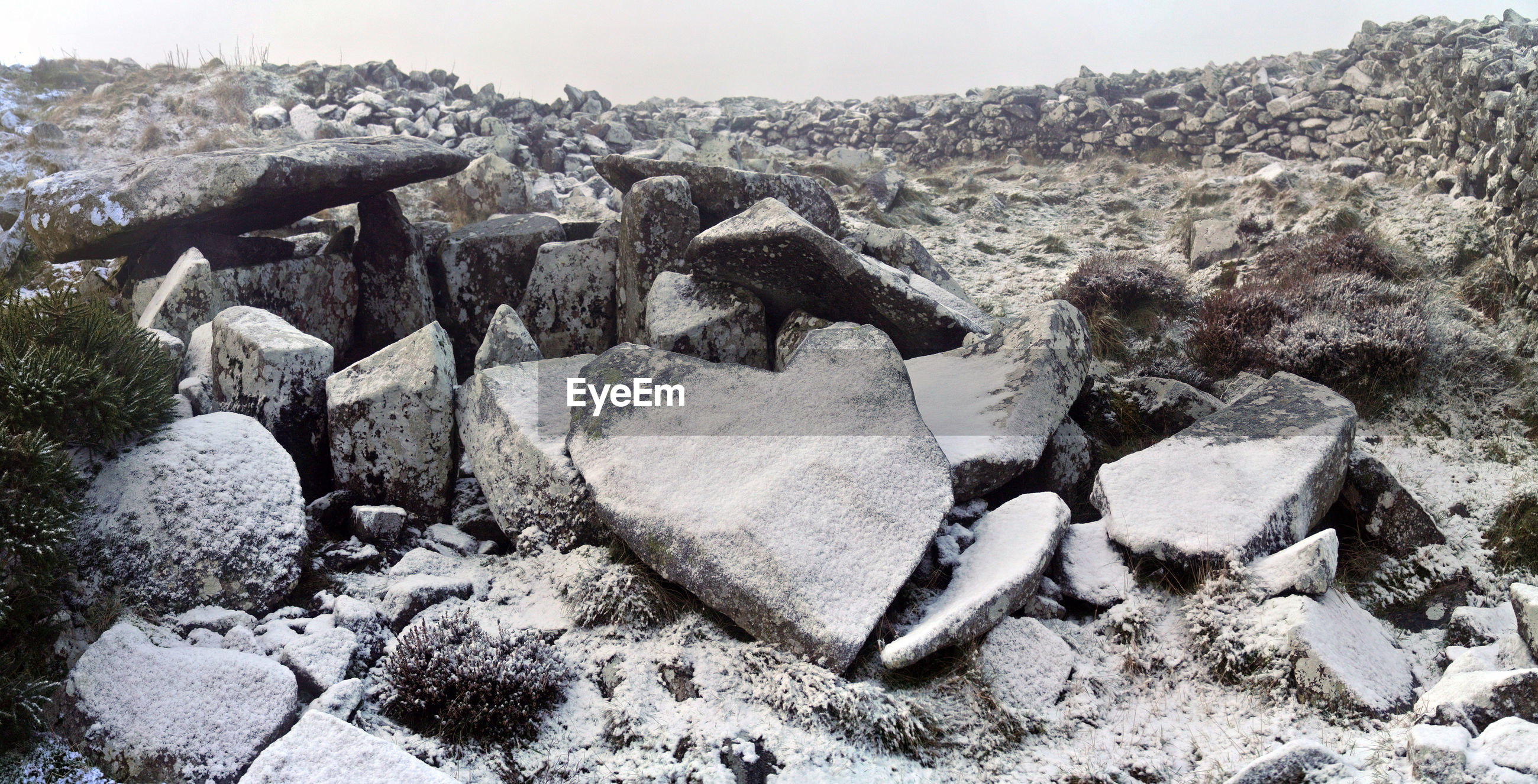 Close-up of rocks on land against sky