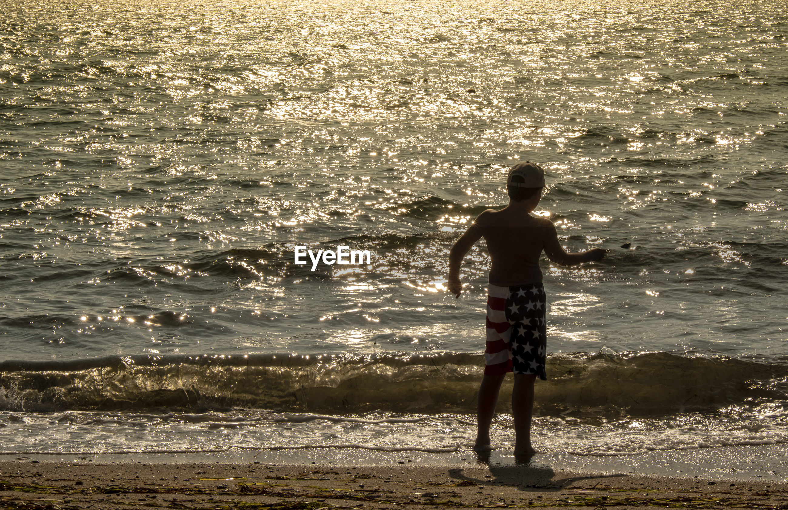 Rear view of boy standing on shore during sunset