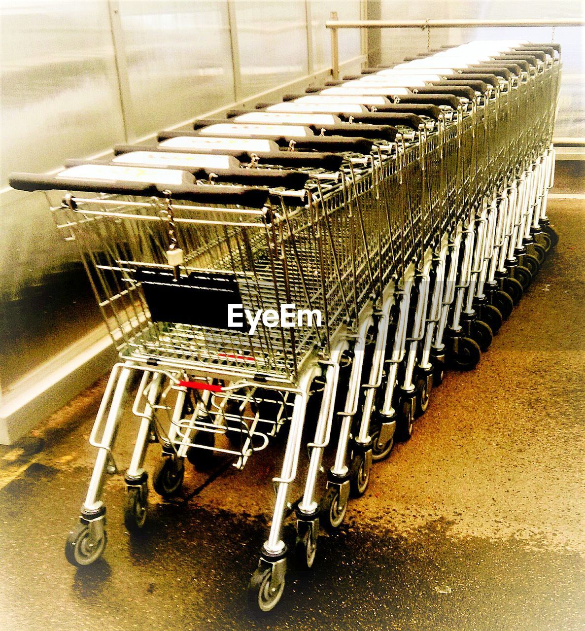 shopping cart, trolley, consumerism, supermarket, indoors, no people, day