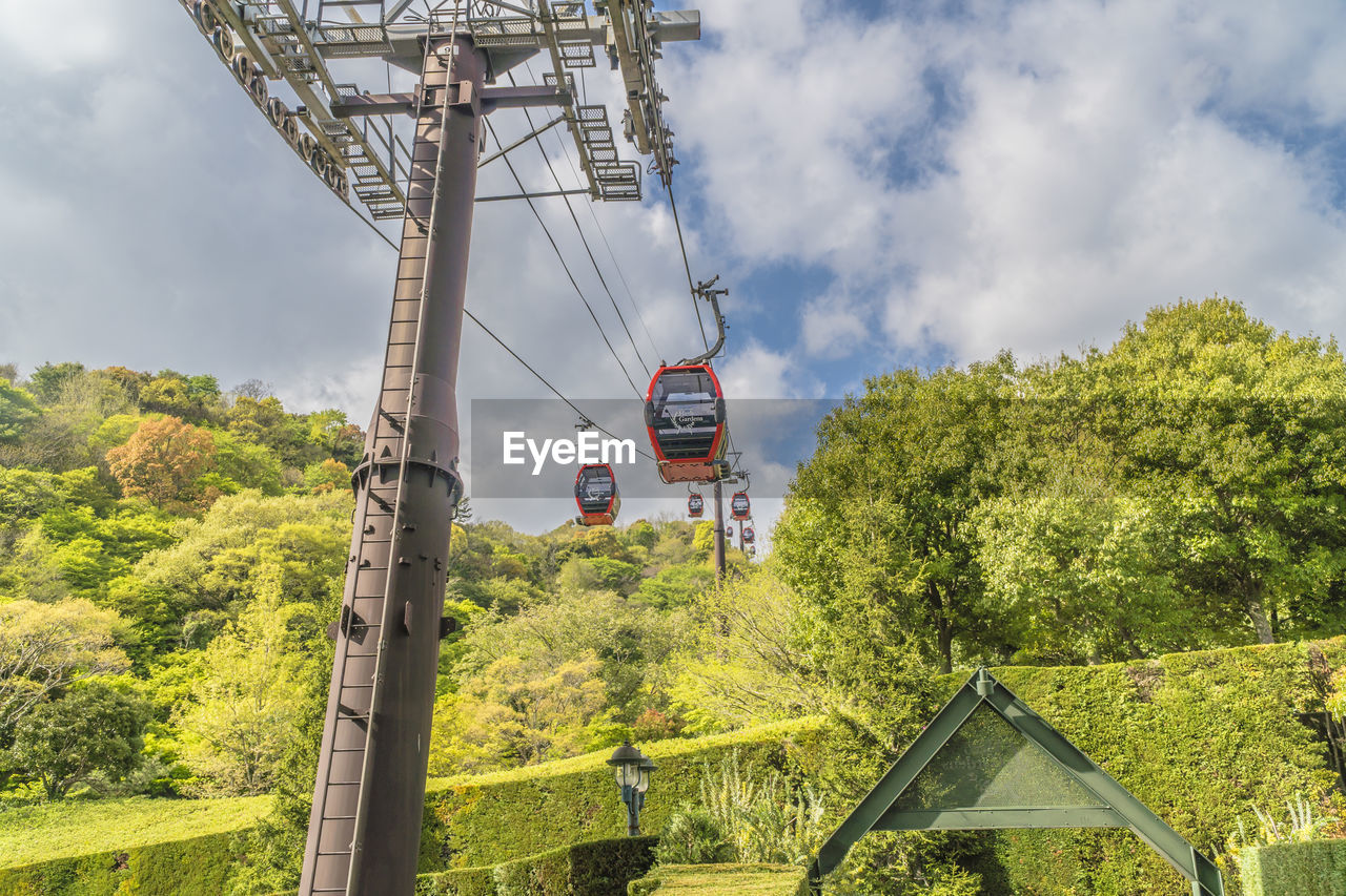 tree, plant, sky, cloud - sky, nature, built structure, architecture, day, transportation, green color, cable car, rail transportation, no people, growth, beauty in nature, mode of transportation, land, public transportation, overhead cable car, technology, outdoors, track, electricity