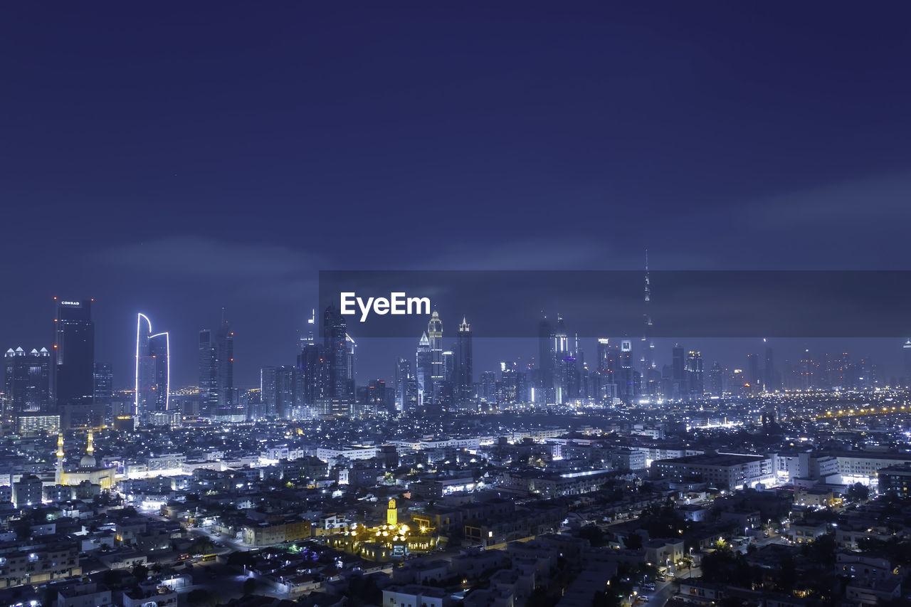 Dubai skyline through satwa district