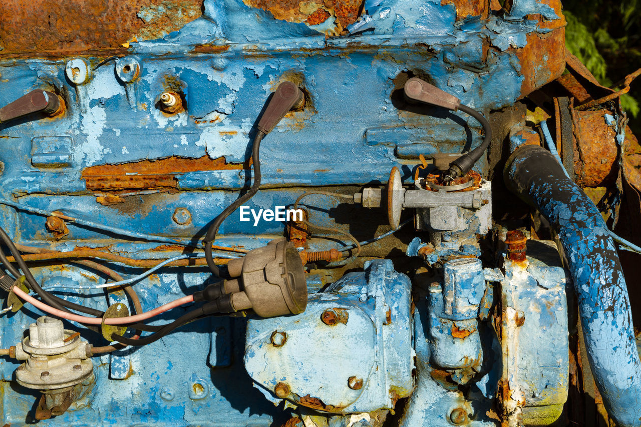 rusty, metal, abandoned, no people, old, weathered, machinery, damaged, day, obsolete, blue, run-down, decline, valve, bad condition, machine part, deterioration, industry, close-up, equipment, machine valve, power supply, ruined