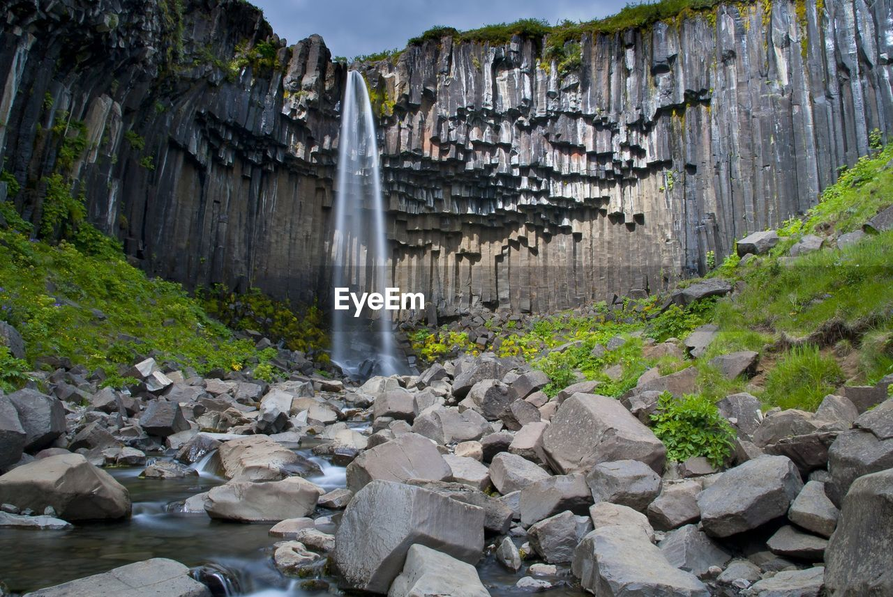 SCENIC VIEW OF WATERFALL ON CLIFF