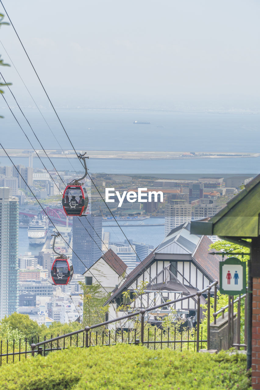 sky, architecture, built structure, building exterior, nature, building, day, no people, city, water, residential district, sea, outdoors, plant, house, cable, grass, hanging, cable car, cityscape