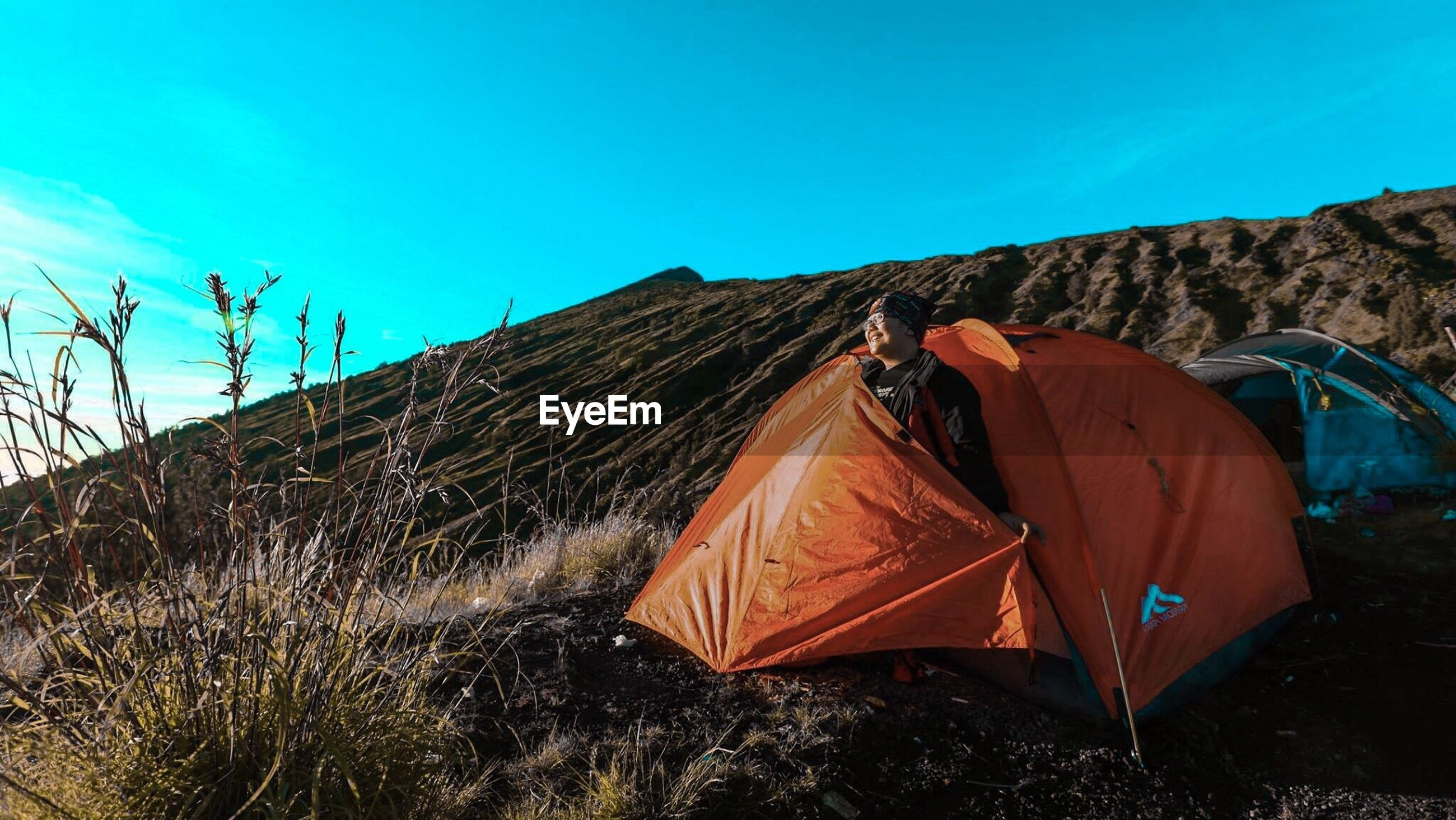 day, tent, drying, outdoors, no people, sky, clear sky, mountain, nature, landscape, shelter, scenics, beauty in nature