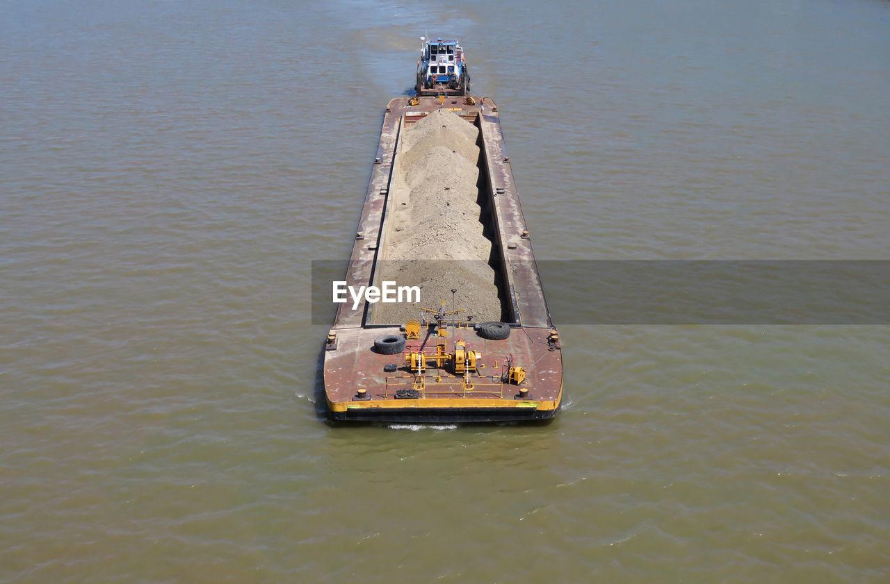 High angle view of barge on sea