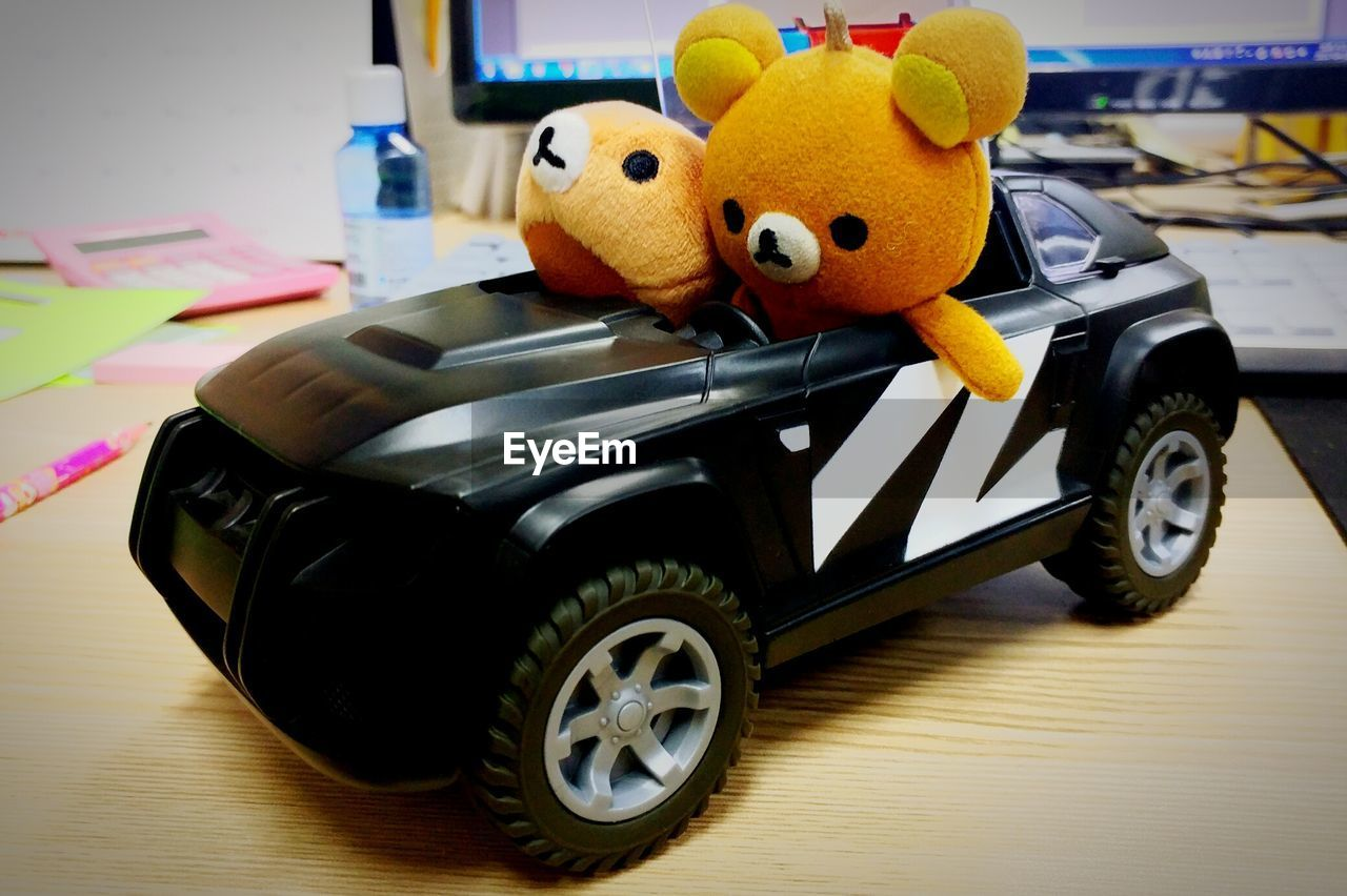 toy, childhood, teddy bear, toy car, stuffed toy, car, indoors, no people, close-up, day