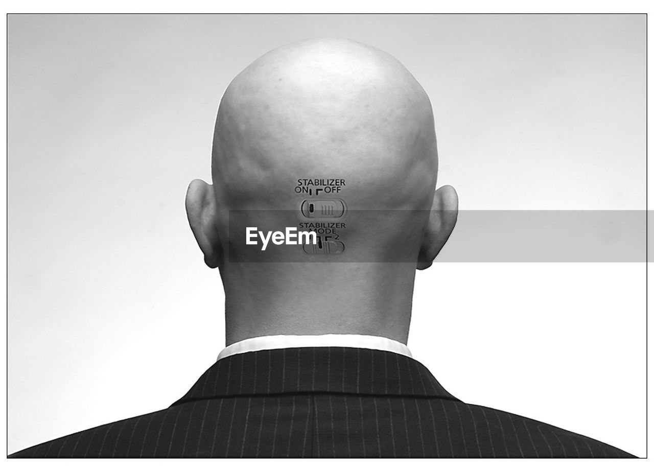 rear view, shaved head, one person, men, real people, indoors, day, one man only, close-up, adult, people