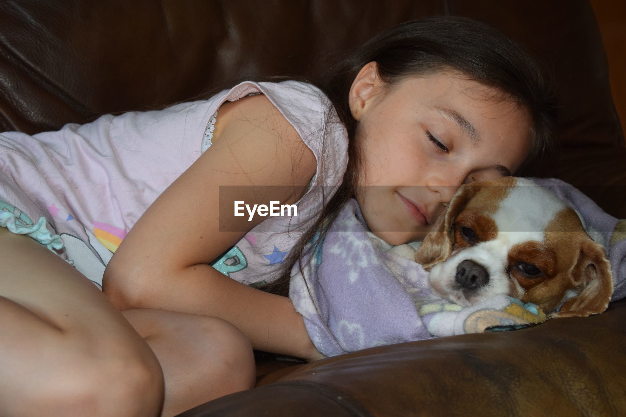 dog, relaxation, indoors, togetherness, sleeping, pets, real people, napping, people, day, mammal, young adult, adult