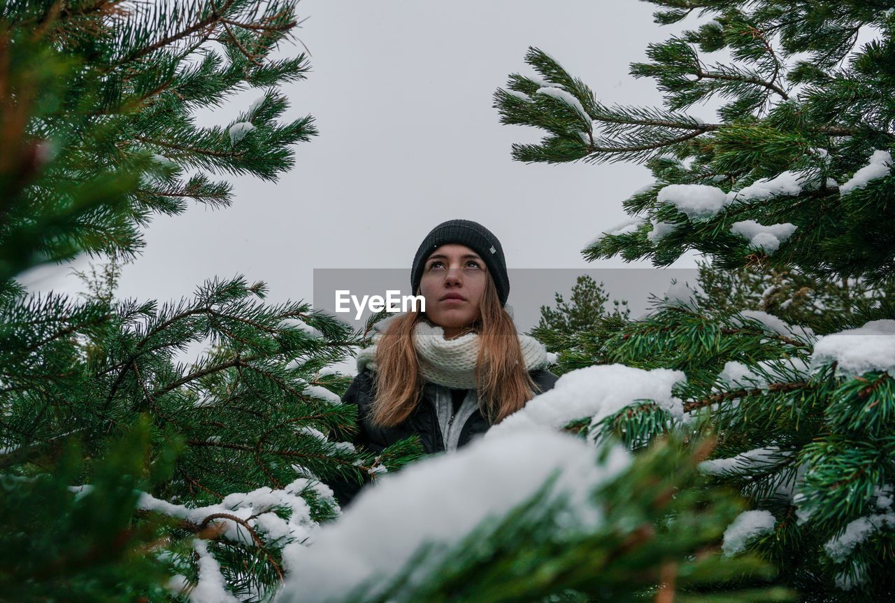 Woman looking away standing amidst trees during winter