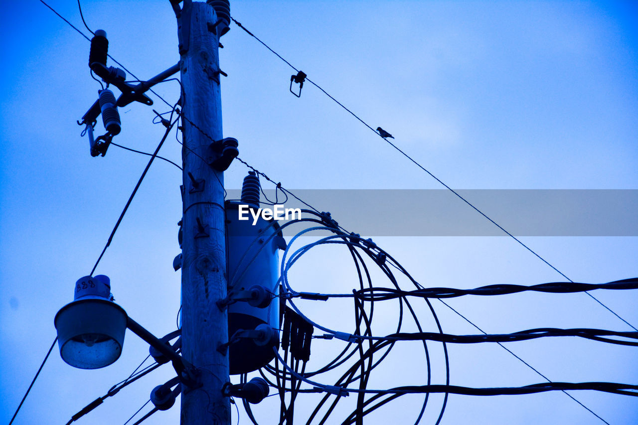 low angle view, cable, sky, connection, electricity, technology, power line, no people, nature, day, blue, power supply, complexity, outdoors, clear sky, lighting equipment, fuel and power generation, metal, animal, animal themes