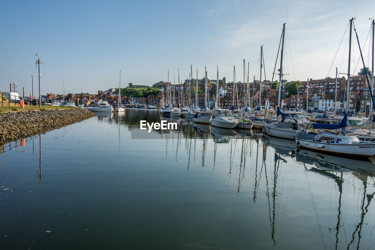 nautical vessel, transportation, water, mode of transportation, moored, sailboat, reflection, pole, harbor, mast, sky, waterfront, nature, no people, marina, day, yacht, tranquility, outdoors, port