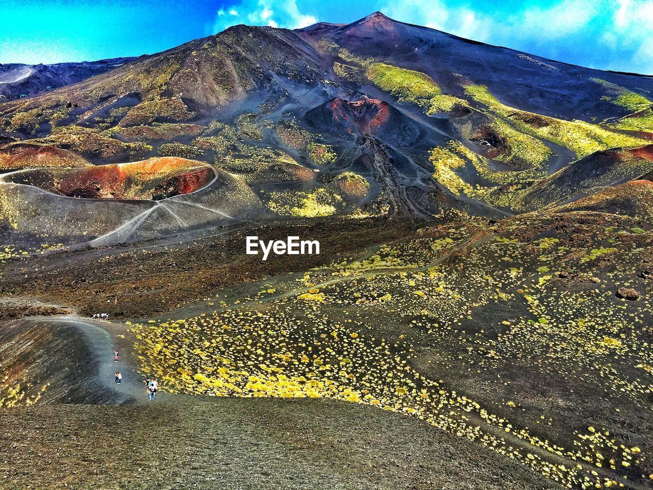 Scenic View Of Mount Etna Against Sky