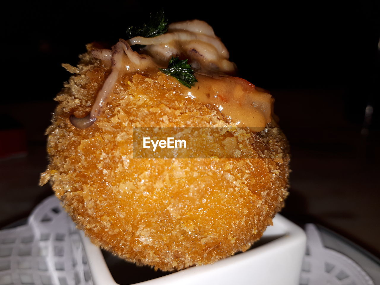 Close-up of deep fried meat on bowl
