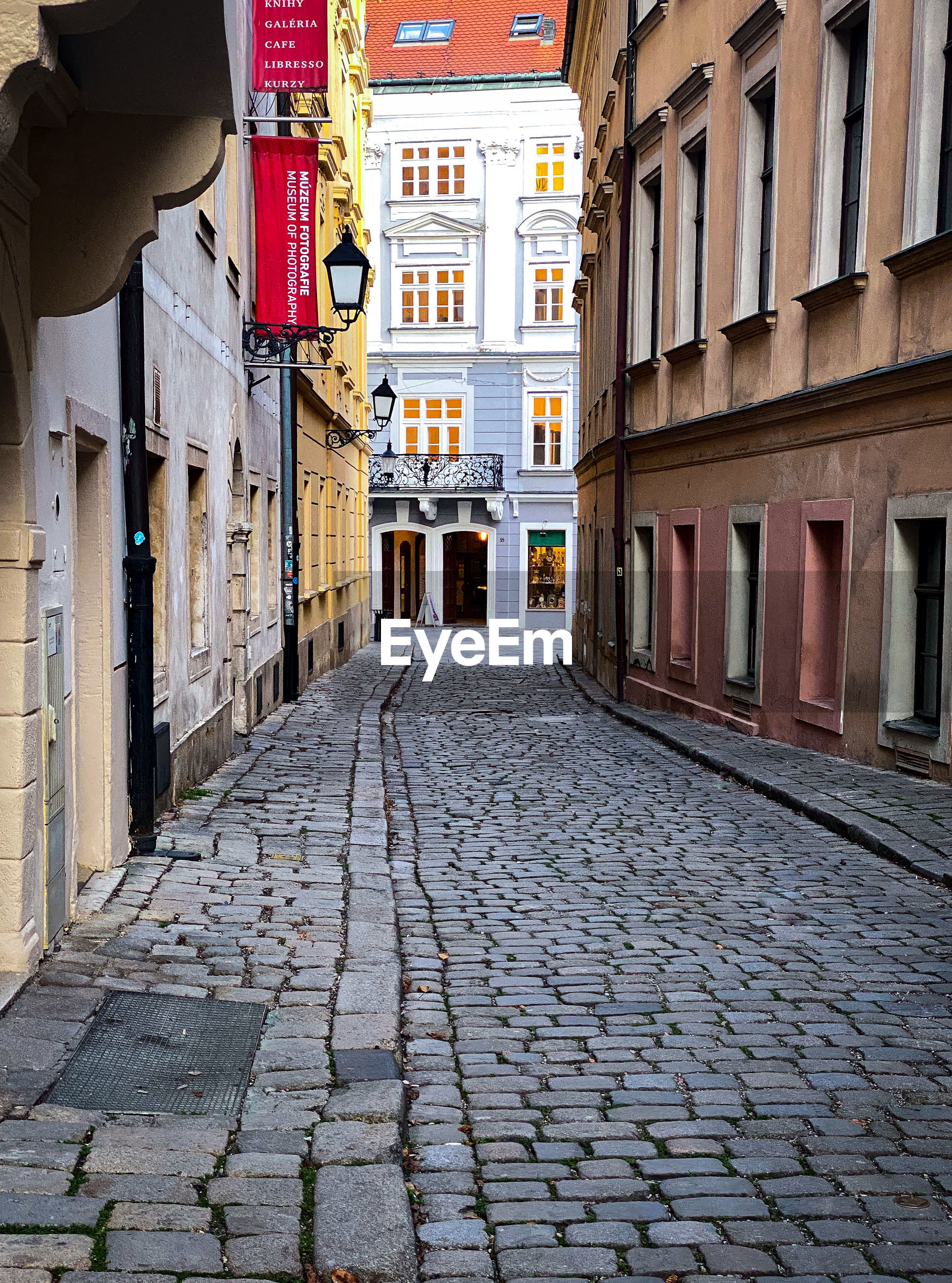 Empty alley amidst houses in city