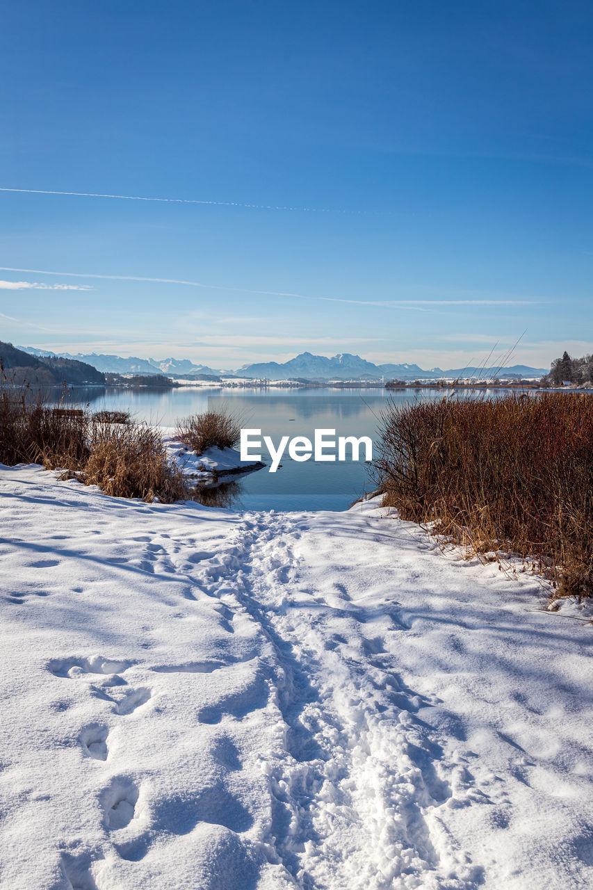 Beautiful winter nature at the lake wallersee, austria