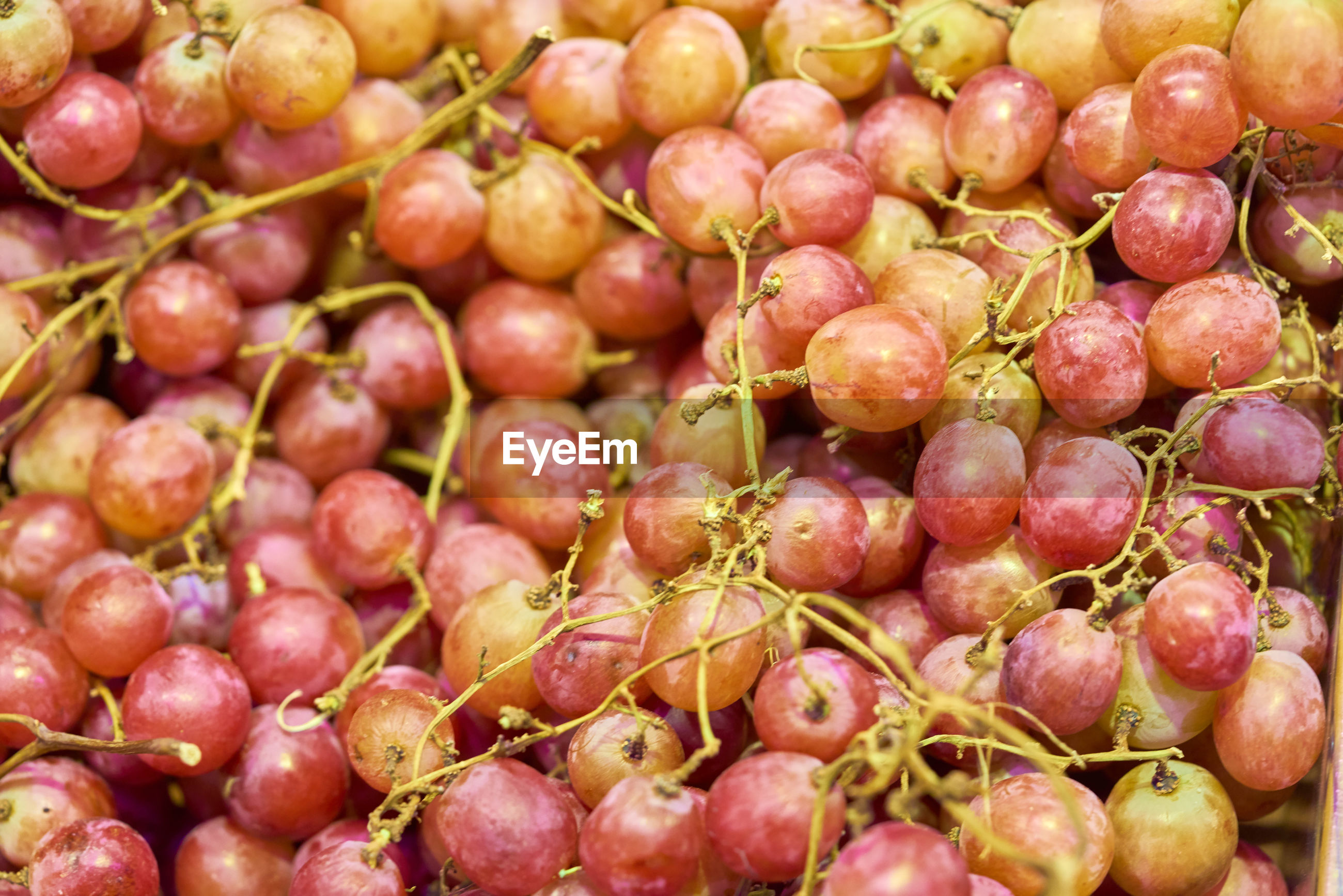 Full frame shot of grapes for sale at market