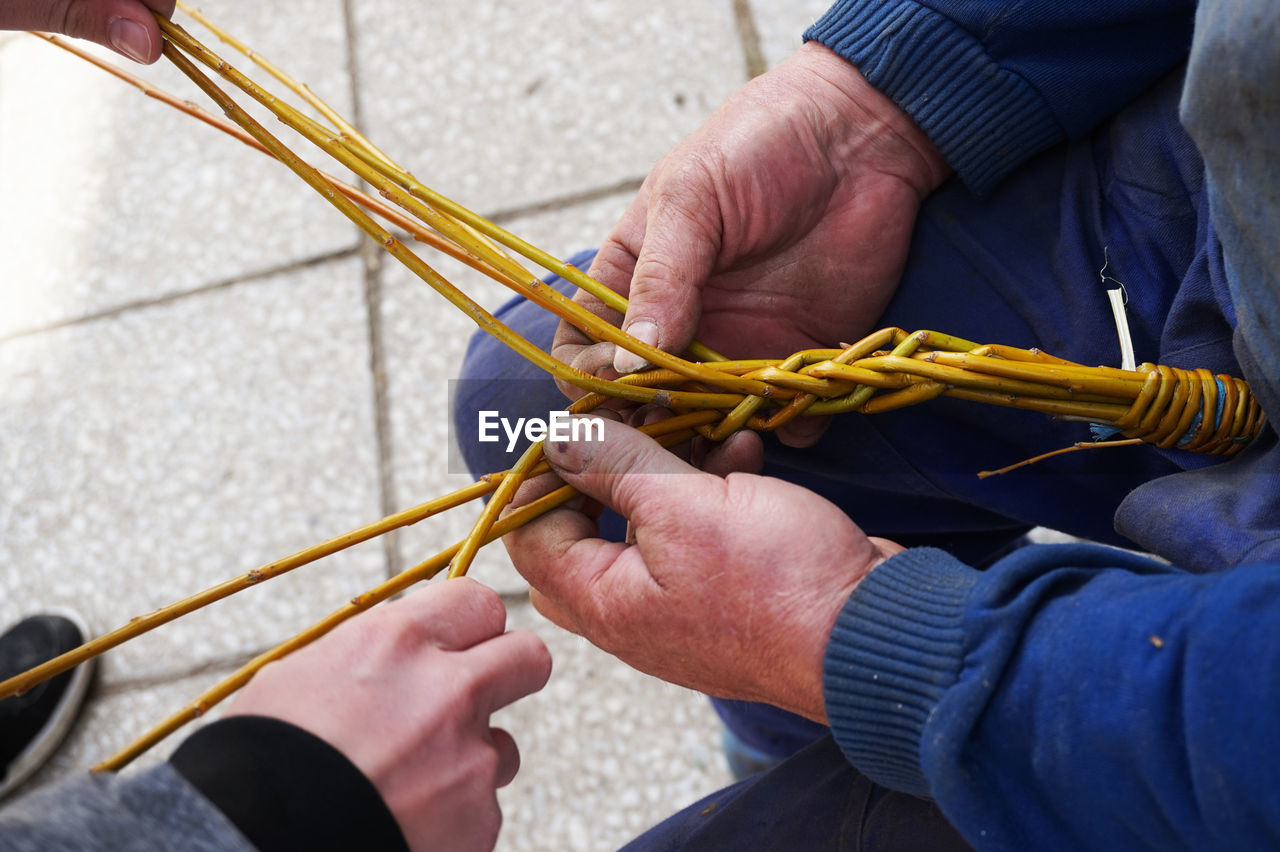 High angle view of people holding stem