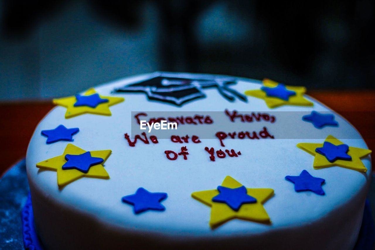 Close-Up Of Text On Cake