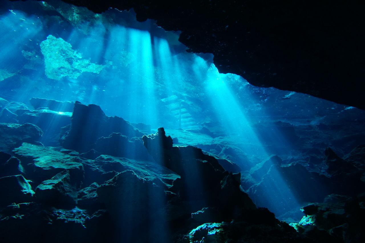 Light Beam In Underwater Cave