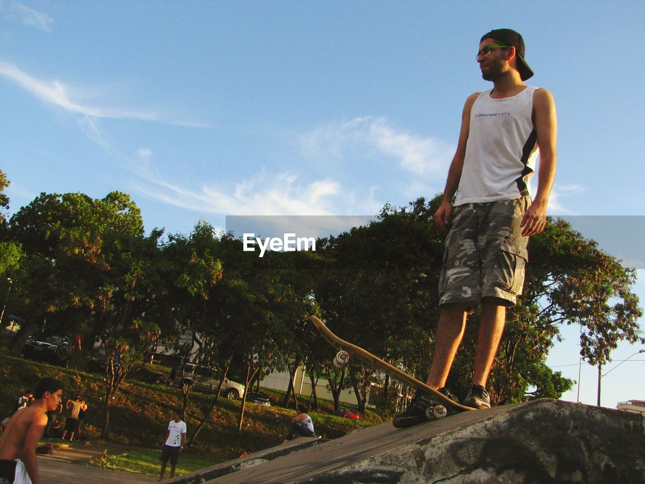 Low angle view of man in park