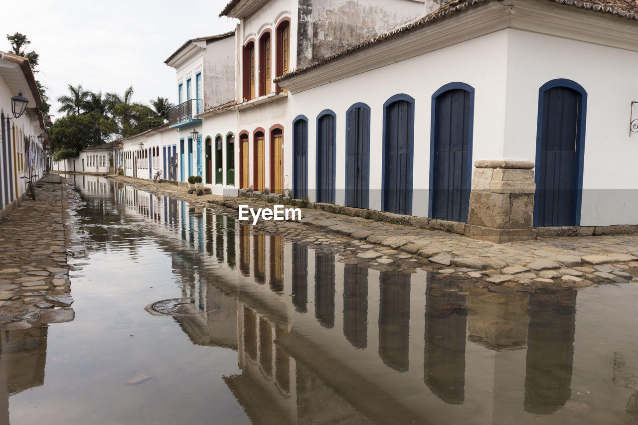 built structure, building exterior, architecture, water, reflection, building, city, sky, waterfront, no people, nature, day, street, puddle, residential district, outdoors, rain, wet, canal